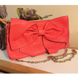 New JustFab BonBon Coral Pink Bow Purse